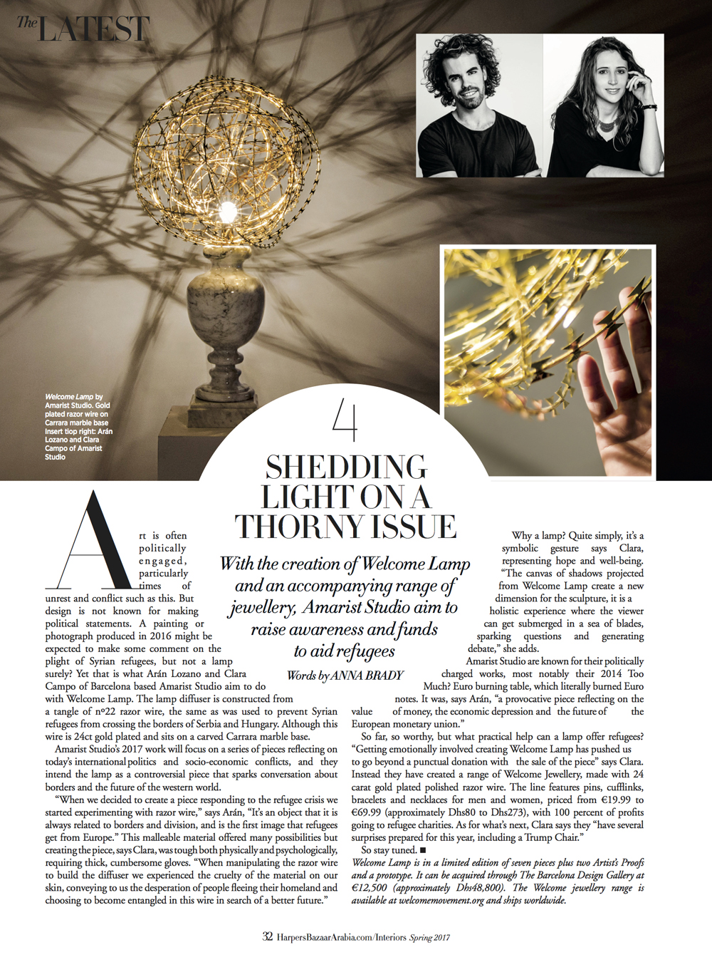 Welcome Lamp by Amarist studio at Harper´s Bazaar magazine