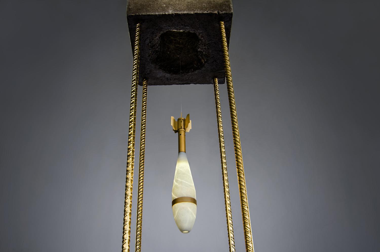 Sculpture lamp Alabaster stone mortal grenade by Amarist studio