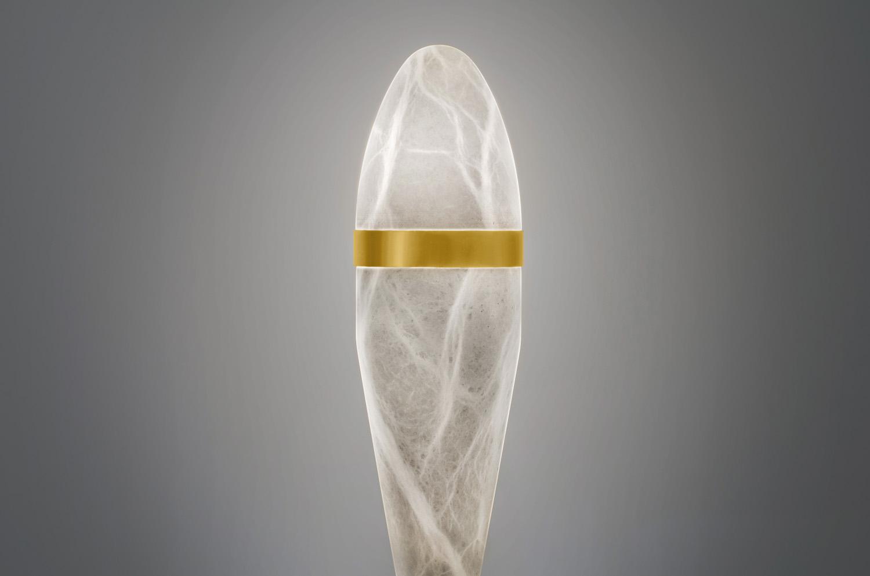 Sculpture table lamp Alabaster stone mortal grenade by Amarist studio
