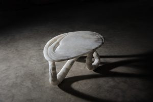 Aqua Fossil Alabaster table by Amarist studio