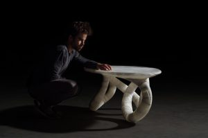 Aqua Fossil Alabaster table by Amarist studio